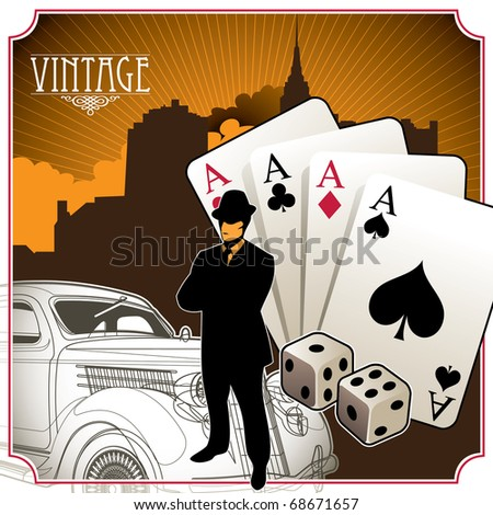 Designed vintage gambling background. Vector illustration. - stock vector