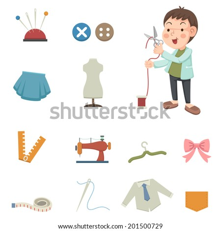 designer and sewing equipment icons - stock vector