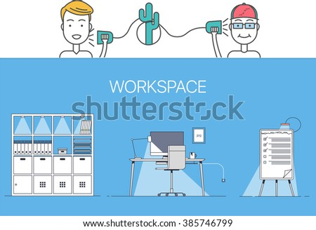 Designer-client negotiations and workspace elements  - stock vector