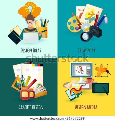 Designer concept set with design ideas creativity and media icons isolated vector illustration - stock vector