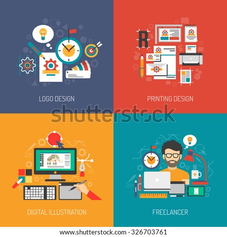 Designer concept set with graphic logo digital design isolated vector illustration - stock vector