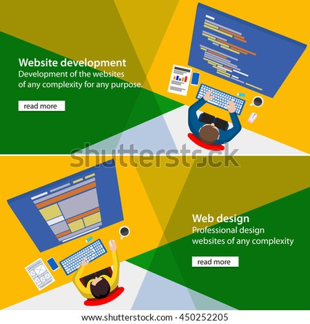 Designer developments of the website. Programmer workplace. Designer workplace