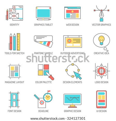 Designer icons line set with graphics tablet identity and branding symbols isolated vector illustration - stock vector