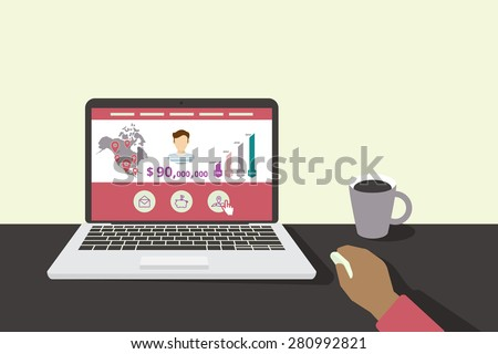 Designer is sitting in the office and developing the website displayed on his laptop  - stock vector