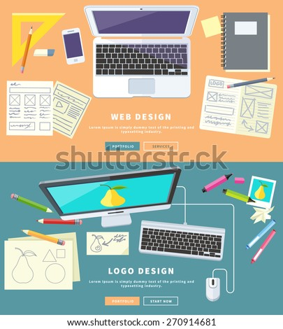 Designer office workspace with tools and devices in modern flat style. Creative process, logo and graphic design, design agency. Top view banner - stock vector