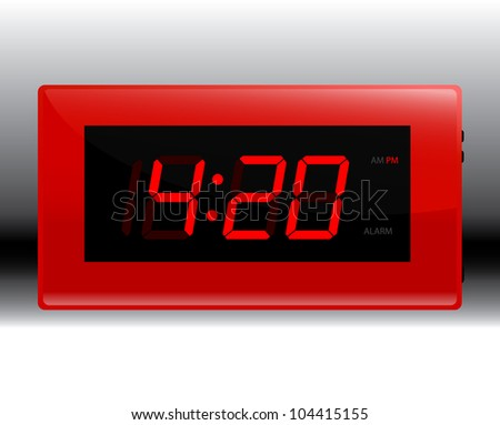 Designer Red Digital Alarm Clock. Edit your own time. - stock vector