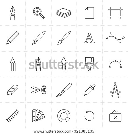 Designer tools icon set. Vector icons of drawing and painting tools. Simple outlined icons. Linear style - stock vector