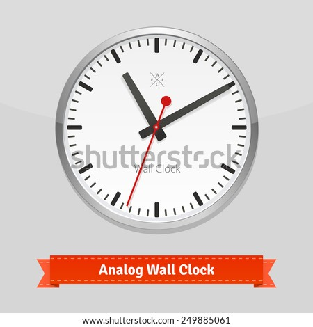 Designer wall clock in a metal casing. Flat style illustration or icon. EPS 10 vector. - stock vector