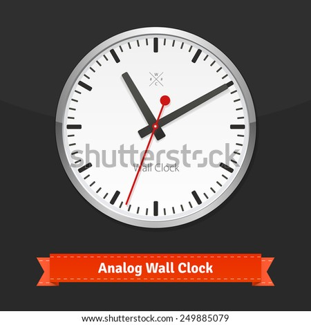 Designer wall clock in a metal casing on black background. Flat style illustration or icon. EPS 10 vector. - stock vector