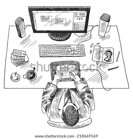 Designer work place with top view man sitting on table sketch vector illustration - stock vector