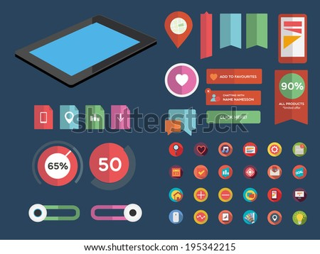 Designers toolkit -Flat UI design - stock vector