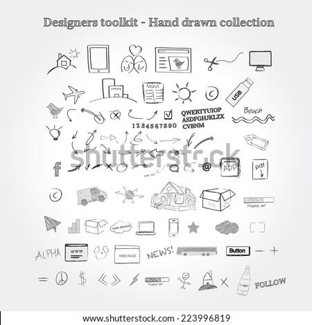 Designers toolkit - hand-drawn collection - stock vector