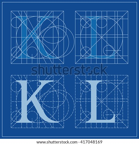 Designing Initials, letters K and L, blueprint.