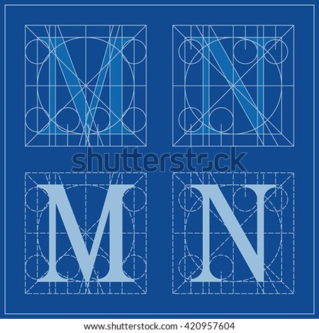 Designing initials letters m n blueprint stock vector 420957604 designing initials letters m and n blueprint malvernweather Choice Image