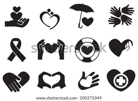 Designs for love and community care icons. Vector illustration. - stock vector