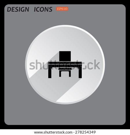 desk and chair, a table in the office. icon. vector design - stock vector