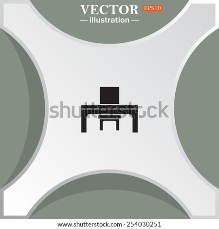 desk and chair, a table in the office.  Vector illustration EPS 10 - stock vector