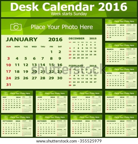 Desk Calendar 2016 Design Template. Set of 12 Months. Week Starts Sunday