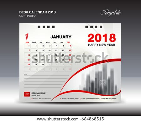 Desk Calendar for 2018 Year, january 2018, Week starts Monday, Stationery design