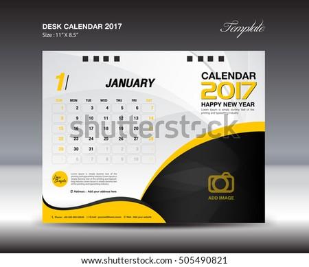 Desk Calendar 2017 Year January 2017 Stock Vector 505490821