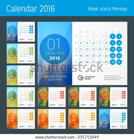 Desk Calendar for 2016 Year. Vector Design Print Template with Place for Photo and Circles. Week Starts Monday. Calendar Grid with Week Numbers. Set of 12 Months - stock vector