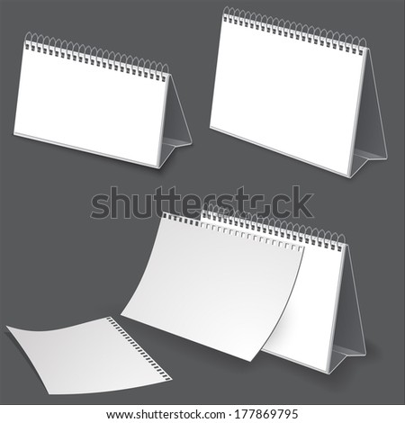 Desk calendar. Illustration on dark for design - stock vector