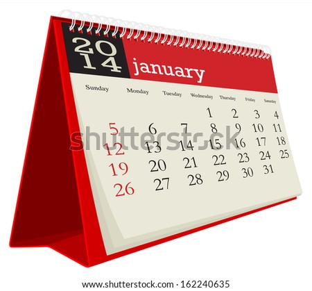 desk calendar 2014 january - stock vector