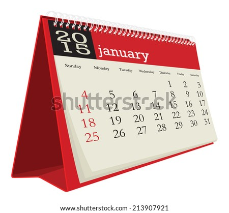 desk calendar 2015 january - stock vector