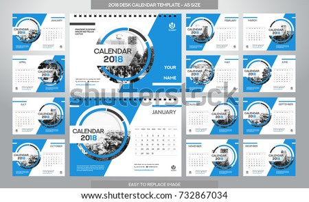 Desk Calendar 2018 Template 12 Months Stock Photo Photo Vector