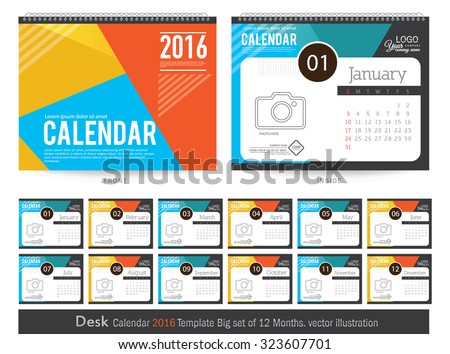 Desk Calendar 2016 Vector Design Template. Big set of 12 Months. Week Starts Sunday - stock vector