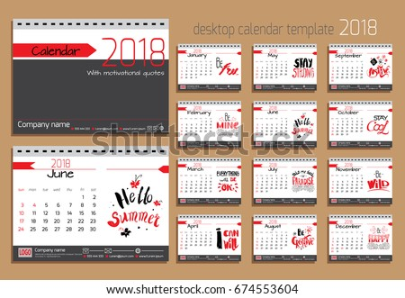 Desk Calendar 2018 Vector Design Template Stock Vector Hd Royalty