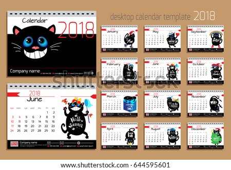 Desk Calendar Funny Cats 2018 Year Stock Vector 2018 644595601