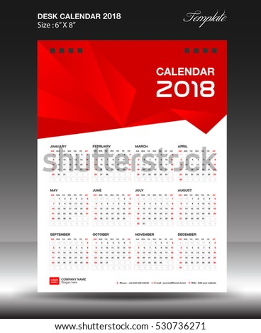 Desk calendar 2018 year Size 6x8 inch vertical, business flyer vecter, red background