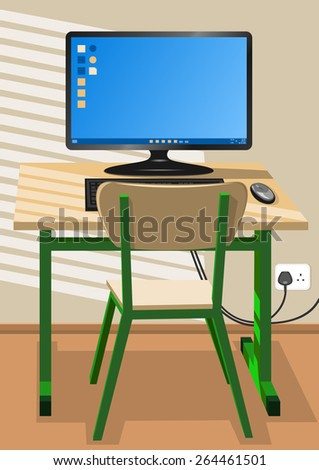 Desk, chair and a computer - stock vector
