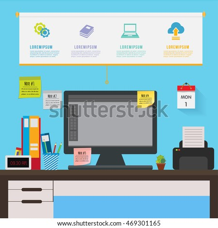 Desk in office infographic. Workplace  table of worker,sticky note.Can used for  banner,roll up,advertising,presentation.Vector illustration business concept cartoon.
