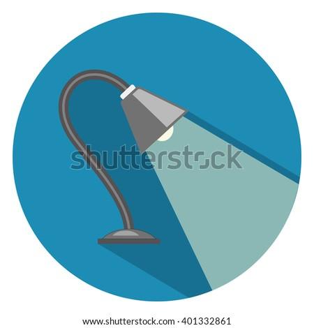 desk light lamp flat icon - stock vector