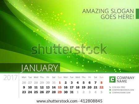 Desk Line Calendar for 2017 Year. Vector Design Print Template with Abstract Background. January. Week Starts Monday