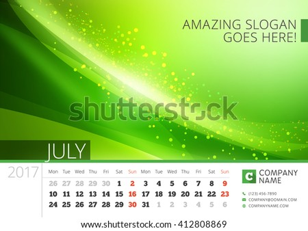Desk Line Calendar for 2017 Year. Vector Design Print Template with Abstract Background. July. Week Starts Monday