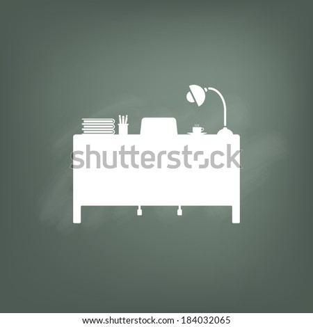 desk on chalkboard icon set - stock vector