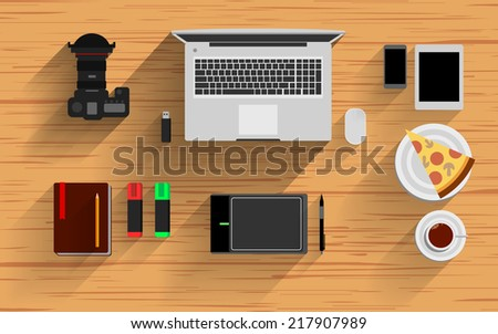 desk vector video notebook top icon background view business flat pencil paper set - stock vector