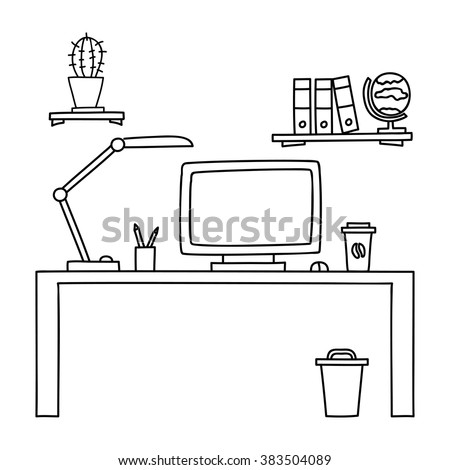 Desk with a computer or workplace in office drawn by hand doodle style. Vector illustration. - stock vector
