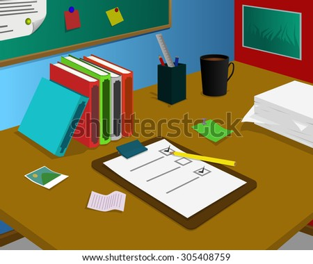 Desk with Checklist paper, coffee and stationery - stock vector