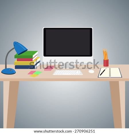 Desk with computer, notebook, books and other items on it. Flat design. - stock vector