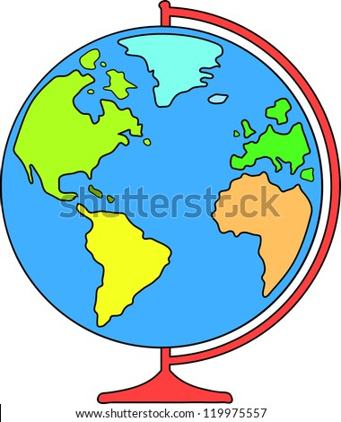 desk world globe for education. vector illustration