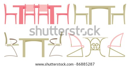 Desks and chairs - stock vector