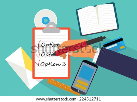 desktop at home or in the office, a top view of ahand and list - stock vector