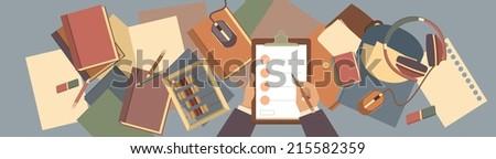 desktop background top view of businessman hands holding list - stock vector