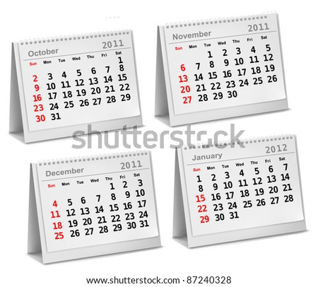 Desktop calendar 2011 - October, November, December, 2012 - January. Vector illustration. - stock vector