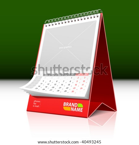 Desktop calendar. Vector. Insert your text and graphics