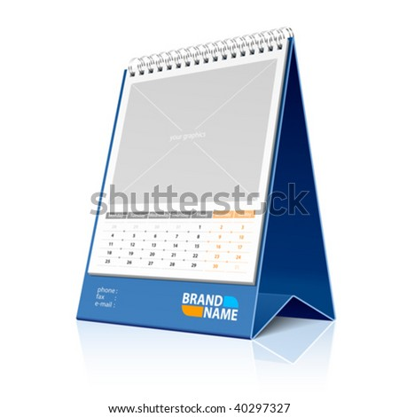 Desktop calendar. Vector. Place your photo or graphics. - stock vector